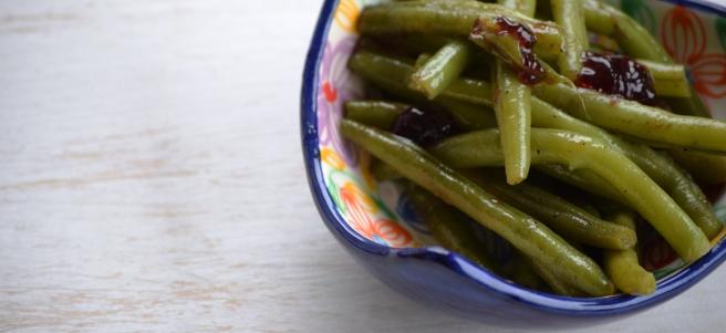 Grüne Bohnen mit Johannisbeergelee
